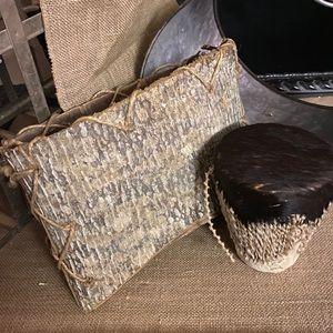 Native American Folded Bark Basket and Tribal Drum